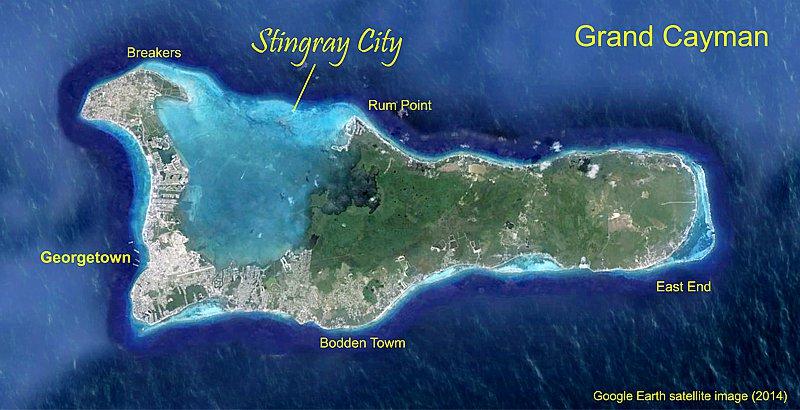 Stingrays Stingray City Grand Cayman - Cayman islands cities map